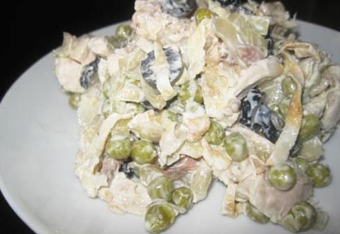 Салат с консервированного зеленого горошка